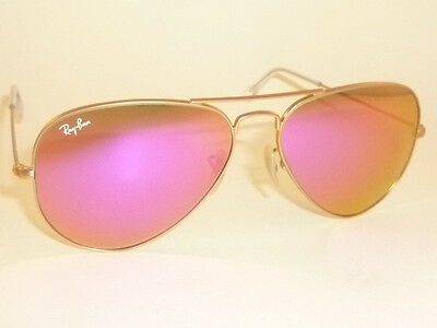 8595116703 New RAY BAN Aviator Sunglasses Matte Gold Frame RB 3025 112 4T Cyclamen  Mirror