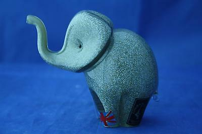 Langham Glass Crystal Hand Made Small Grey Elephant Figure New / Boxed