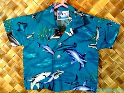 RJC Boys HAWAIIAN UNDER SEA SHARK STINGRAY Print Shirt - Size 6 Months