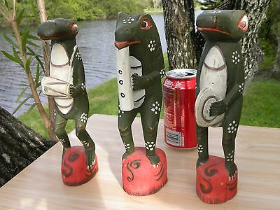 Animal reptiles sculpture home decor wood three musician frogs folk art