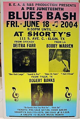 Rare Blues Bash Poster - Robert Banks - Bobby Warren - Deitra Farr - Elgin, TX