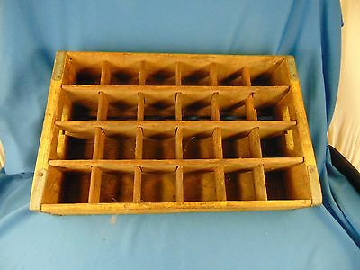 Antique Coke Coca Cola yellow wood crate 24 slots wall hanging spice rack art