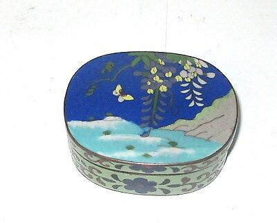 Bronze Japanese Cloisonne Red Enamel Floral Tree Butterfly Jar Box