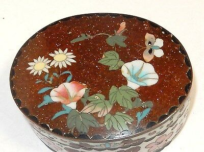 Rare Old Bronze Japanese Ginbari Cloisonne Enamel Floral Butterfly Trinket Box