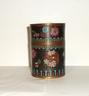 Rare Old Japanese Cloisonne Enamel Canister Caddy Jar Box
