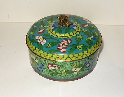 Old 19Th Century Chinese Bronze Cloisonne Enamel Foo Dog Humidor Box