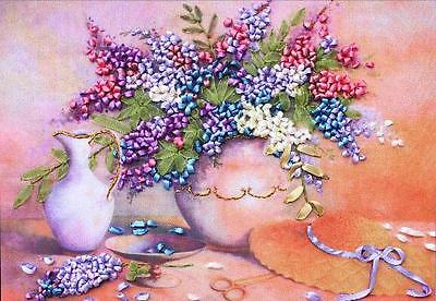 Ribbon Embroidery Kit Purple Vine Clove Needlework Craft Kit RE3049
