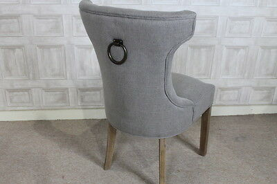 Upholstered Dining Chair With Button Back And Ring French Style Chair In Stone