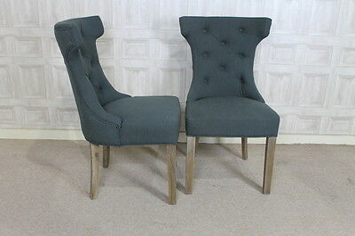 Upholstered Dining Chair In Pewter With Button Back And Ring French Style Chair