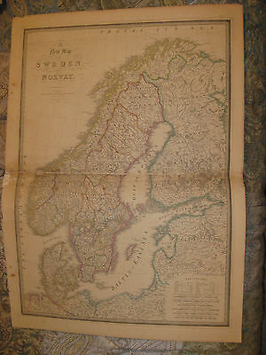 Huge Gorgeous Folio Size Antique 1843 Sweden Norway Wyld Handcolored Map Rare Nr