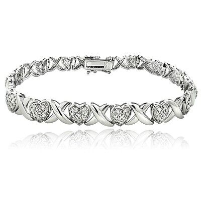 0.50ct TDW Diamond X & Heart Bracelet, Silver Gold or Rose Gold Tone