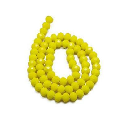 80+ Yellow Czech Crystal Opaque Glass 4 x 6mm Faceted Rondelle Beads HA20070