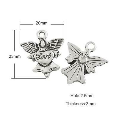 Packet of 15 x Antique Silver Tibetan 23mm Charms Pendants (Angel) ZX02865