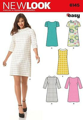 New Look Sewing Pattern Misses'  Shift Dress Knee Length Size  8 - 18 6145