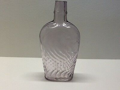 Antique Light Amethyst Fancy Coffin Shaped Whiskey Or Wine Flask.