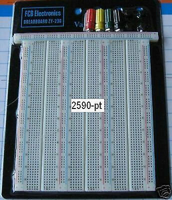 FCB*USA 1x 2590-pt Breadboard with 4 power posts from Michigan, USA  *LARGE