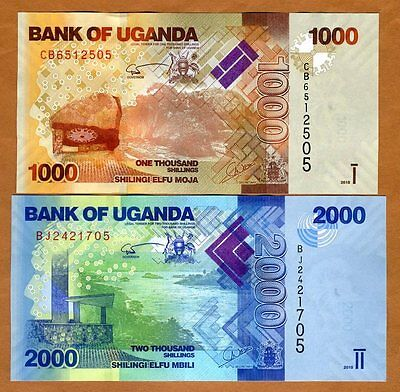 SET Uganda, 1000;2000 Shillings, 2015, Picks 49-50, UNC