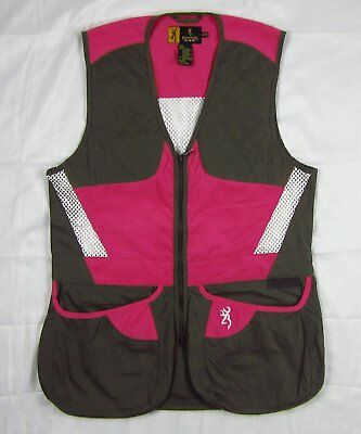 Womens NWT Browning Buckmark Summit Shooting Vest Smoke Gray Hot Pink Size S-2XL
