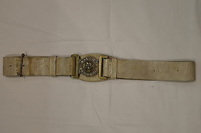 Victorian British Canadian White Buff Leather Belt and Buckle