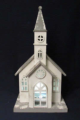 """Vintage Light Up Christmas Church 23"""" Tall Wooden & Plastic Battery Powered"""
