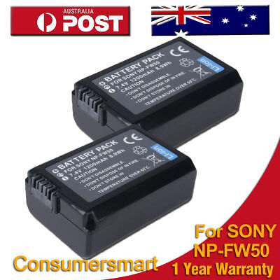 2 x NP-FW50 Replacement Battery for Sony ALPHA 3000 6000 SLT-A55 A33 A37 NEX-3