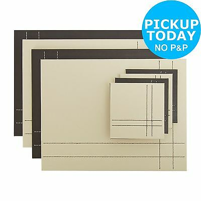 HOME @Argos Leather Effect Set of 4 Reversible Placemats & Coasters -Cream/Brown