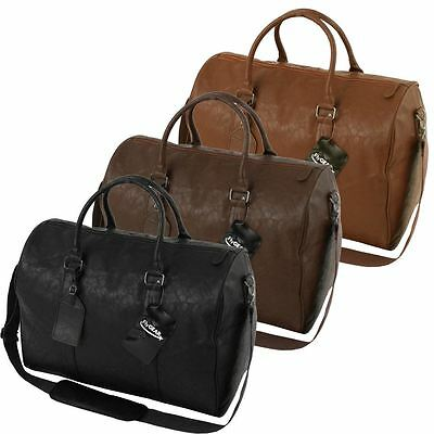 Large Leather Look Sports Gym Travel Golf Holdall Luggage Duffle Weekend Bag
