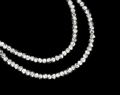 Karen Hill Tribe Silver 150 Faceted Seed Beads 1.8x1 mm. 8.5 inches