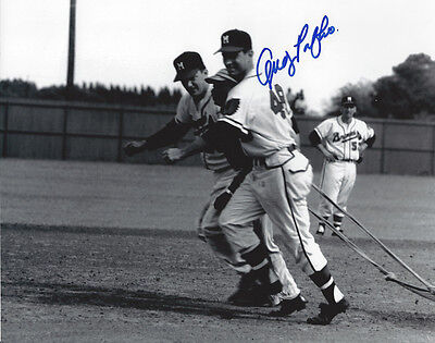 1957 BRAVES Andy Pafko signed photo AUTO Milwaukee 8x10 w/ Johnny Logan