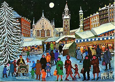 Christkindlmarkt-Christmas Market-Night-Erna Emhardt Artwork-Modern Postcard