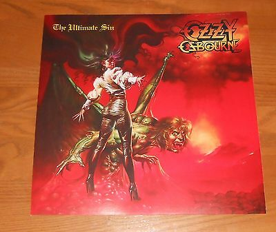Ozzy Osbourne The Ultimate Sin Poster 2-Sided Flat Vintage Promo 12x12 RARE
