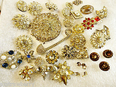 Antique VTG Pot Metal Glass Crystal Mix lot of 16 Buttons for Repair or crafts