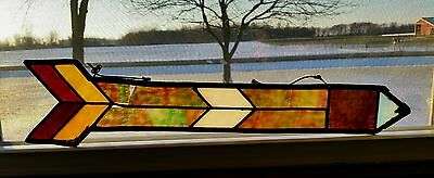 Antique Stained Glass Window Pointed Arrow Sign