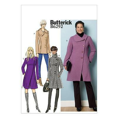 Butterick Sewing Pattern Misses' Lined Coat Sizes 8 - 24 B6292