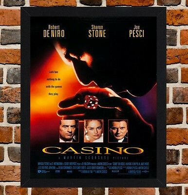 Framed Casino Movie Poster A4 / A3 Size Mounted In Black / White Frame (Ref-1)