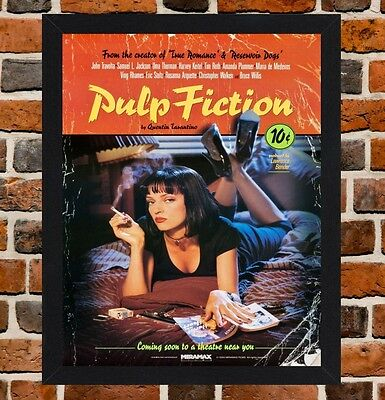 Framed Pulp Fiction Movie Poster A4 / A3 Size Mounted In Black / White Frame
