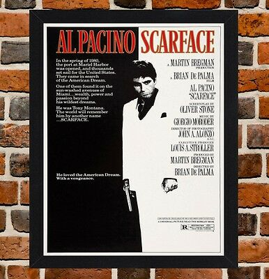 Framed Scarface Al Pacino Movie Poster A4 / A3 Size In Black / White Frame (R-1)