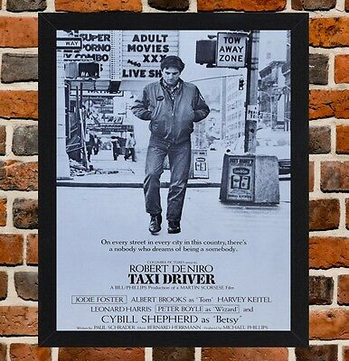 Framed Taxi Driver Movie Poster A4 / A3 Size Mounted In Black / White Frame R-1