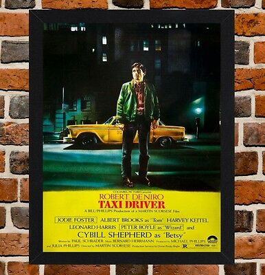 Framed Taxi Driver Robert De Niro Movie Poster A4 / A3 Size In Black Frame