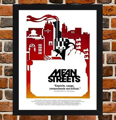 Framed Mean Streets Movie Poster A4 / A3 Size Mounted In Black / White Frame R-1