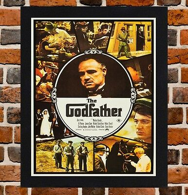 Framed The Godfather Movie Poster A4 / A3 Size In Black / White Frame (Ref-2)