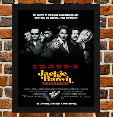 Framed Jackie Brown Movie Poster A4 / A3 Size In Black / White Frame