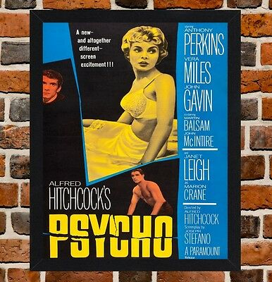 Framed Psycho Movie Poster A4 / A3 Size In Black / White Frame (Ref-1)