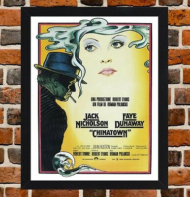 Framed Chinatown Movie Poster A4 / A3 Size In Black / White Frame