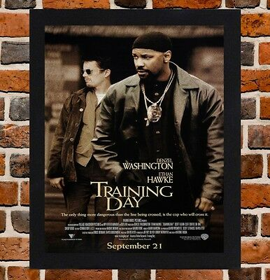 Framed Training Day Movie Poster A4 / A3 Size In Black / White Frame