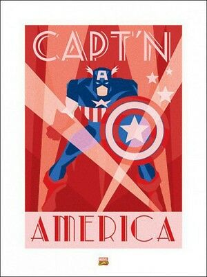 Captain America -Marvel Comics Retro Art Deco Poster Kunstdruck (80x60cm) #71214