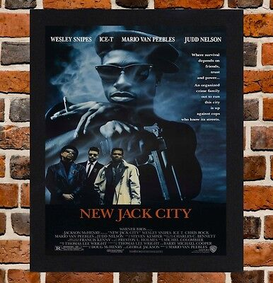 Framed New Jack City Movie Poster A4 / A3 Size In Black / White Frame