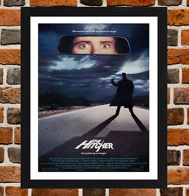 Framed The Hitcher Movie Poster A4 / A3 Size In Black / White Frame