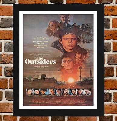Framed The Outsiders Movie Poster A4 / A3 Size In Black / White Frame