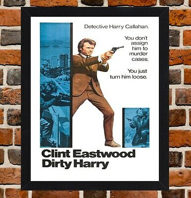 Framed Dirty Harry Movie Poster A4 / A3 Size In Black / White Frame (Ref-3)